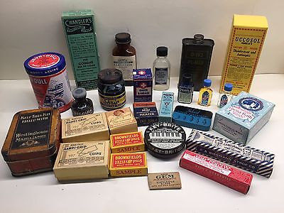 Nice lot of 26 medicine ink asst. advertising general store tins jars and boxes