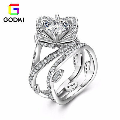 18K White Gold Plated Flower Wedding Solitaire Simulate Diamond Silver Ring Set