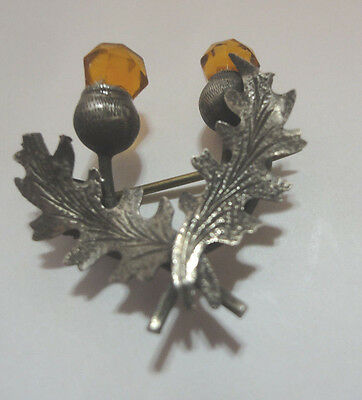 Brooch, Two Thistles With Citrines, Embossed  Vintage Celtic Scottish Pin/Brooch