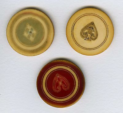 Antique Ivory Poker Chips - Set of Three