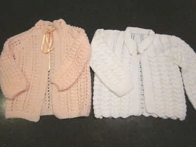 2 Hand Knitted Baby Matinee Jackets  Size 000  New Without Tags