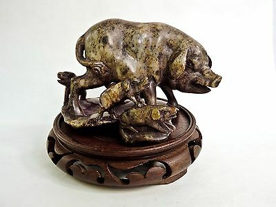 Antique Chinese Soapstone Sculpture Sow & Piglets On Carved Wooden Display Base
