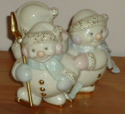 "Lenox ICE SKATING SNOWMEN SNOWMAN Trio 4"" Figurine candle holder"