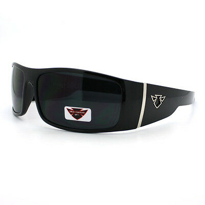 Mens Sporty Fashion Sunglasses Wrap Around Frame Biker Style Shades Black
