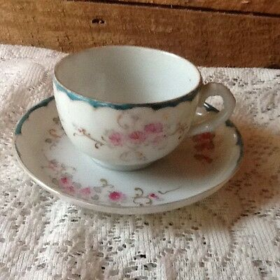 "Vintage  1.5"" Tea Cup And 4""  Saucer Hand Painted"