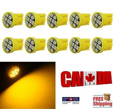 10x T10 194 168 1W 8SMD 1206 LED Lamp Dome Map Signals Light Bulbs Amber Yellow