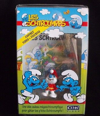 Smurf Les Schtroumpfs Video & Figurine ~ Christmas ~ Sealed ~ French ~ Peyo~1997
