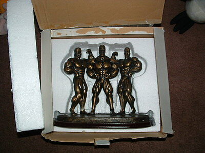3 Male Bodybuilders Resin Statue Muscle Men Trophy