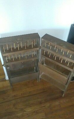 Rare Antique  Flip top folding Sewing spool Cabinet