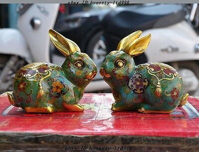 """A 5"""" Old China palace bronze Cloisonne fengshui zodiac rabbit wealth statue pair"""