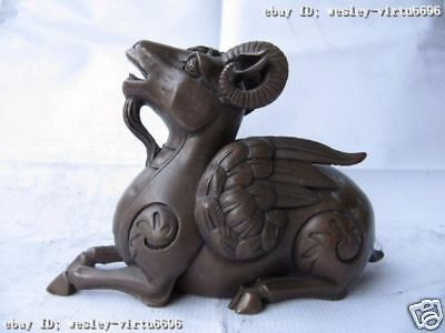 Chinese Pure Copper Bronze Carved Lucky Fengshui Twelve Zodiac Fly sheep Statue