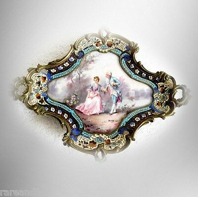 French porcelain and champleve tray - hand painted victorian scene - FREE SHIP