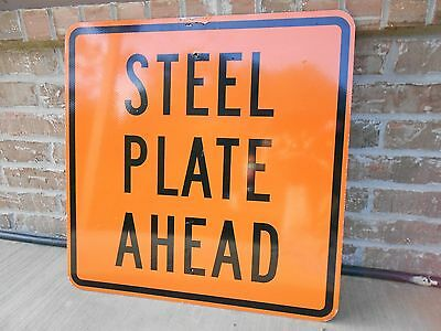 "Construction Road Sign 24""x 24"" Steel Plate Ahead  Man Cave FREE SHIPPING!!"