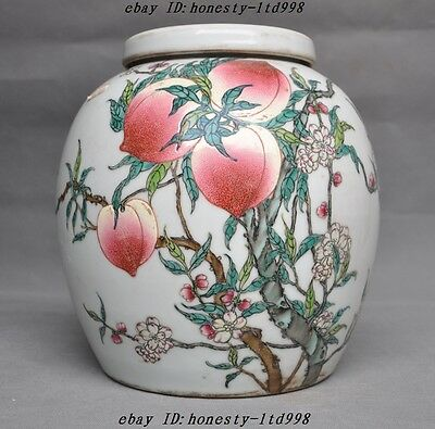 Marked China Wucai Old Porcelain Bat Longevity Peach Shoutao Tank Pot jar crock