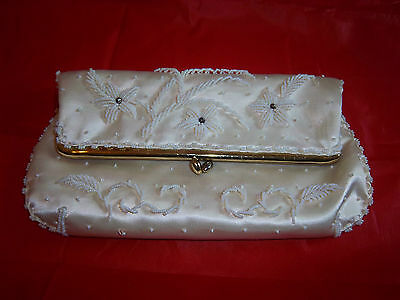 Vintage Wedding Prom Formal Dress Clutch Purse Floral Beaded Design Original Box