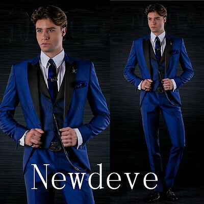 Blue And Black Men's Business Suits Groom Groomsmen Formal Tuxedos Slim Fit Trim