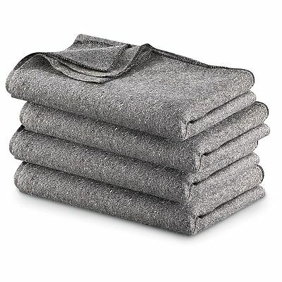 Military Surplus Wool Blankets Toasty Warmth And Comfort  4 Pack  60 x 80 Size
