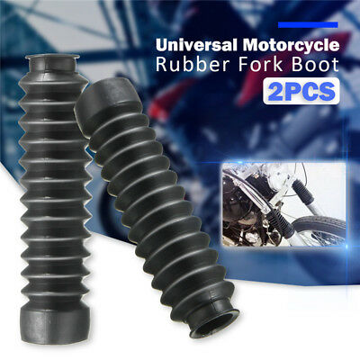2x Black Universal Motorcycle Rubber Fork Shock Boot Dust Cover Gaiters