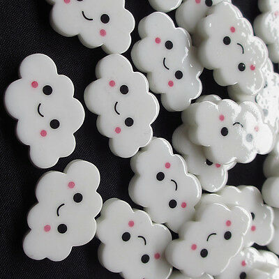 New White Cloud Resin Flatback Flat Backs Button Merry Christmas Craft