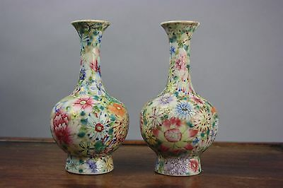 18th/19th C. Pair Chinese Famille Rose Millefleurs Vases