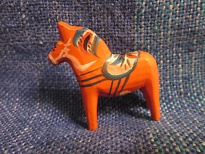 "Small Handpainted Wooden ""dala Horse"" From Sweden, 2 In. Tall, Orange, Excellent"
