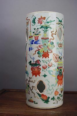 19th C. Chinese Precious Objects Famille Rose Hat Stand