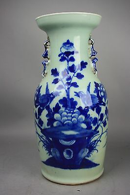 19th C. Chinese Blue and White Celadon Vase