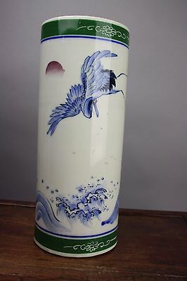 20th C. Japanese Blue White Green Porcelain Hat Stand