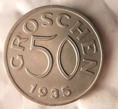 1935 AUSTRIA 50 GROSCHEN - Excellent Collectible Coin - AUSTRIA BIN #A