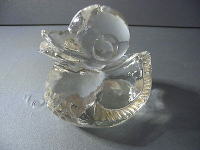 Vintage Art Glass Duck Ornamental Paperweight Pukeberg Sweden c1970s