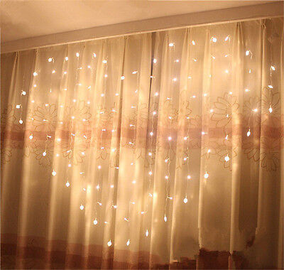 124 LED Heart-Shape Fairy String Curtain Light  Wedding Party Romantic Hanging