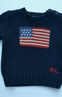 POLO RALPH LAUREN U.S. American Flag Sweater Toddler 2T Kids Pullover Knitted