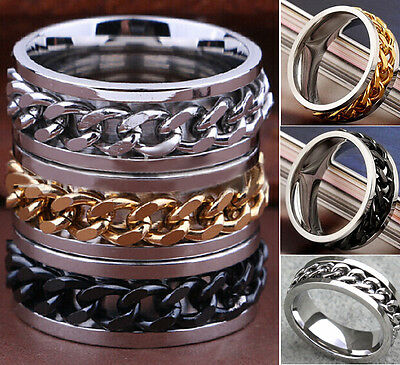 50x Top Quality SPINNER Chain Stainless Steel spin Rings Men Jewelry Job lots