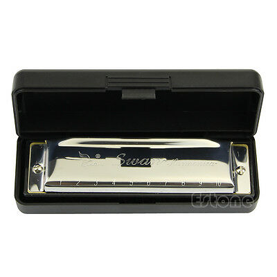 Special New Durable Swan Harmonica 10 Holes Key Of C Silver w/ Case For Beginner