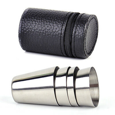 4pcs Camping Travel Stainless Steel Shot Glass Set with PU Leather Case Cover