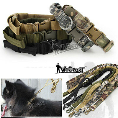Tactical Camouflage Nylon Adjustable Dog Collar Pet Traction Rope Sling Strap