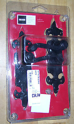 Two Pair Of Black Iron Lever Latch Door Handles Set Durable Finish