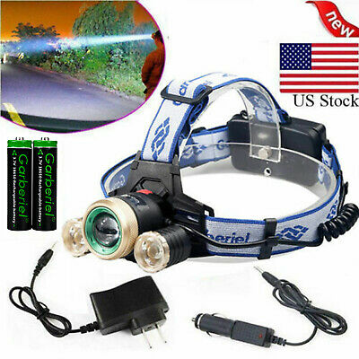 30000LM Tactical T6 LED Headlamp Zoomable HeadLight Lamp + 18650 + Charger USA