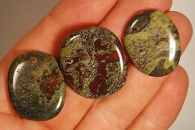 3 DRAGON BLOOD JASPER PALM STONES 21g Dragonstone Worry Flat Healing Crystals