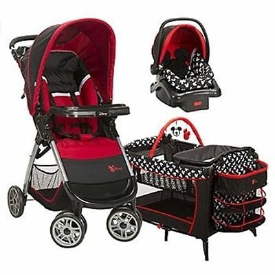 INTERNATIONAL SHIP Disney Mickey Mouse Travel System Stroller Car Seat and Crib