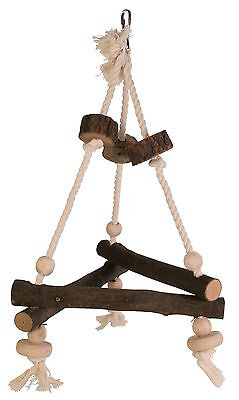 Trixie Natural Wood & Rope Cockatiel Bird Swing Or Parrot Toy 5883
