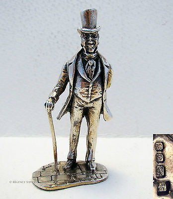 Dickensian Charles Dickens SOLID STERLING SILVER Miniature Victorian Figurine