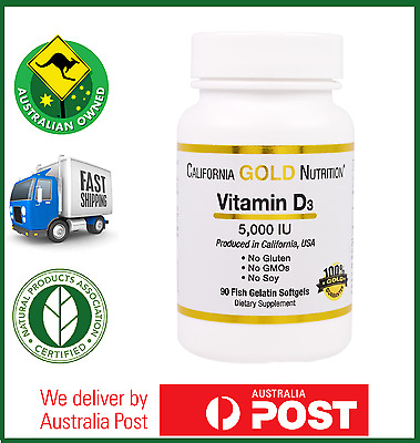 Vitamin D3 5000 IU 90 Softgels by GOLD NUTRITION - High Potency D-3 - AUS STOCK