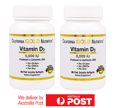 2x Vitamin D3 5000 IU 180 Softgels by GOLD NUTRITION - TWO BOTTLE VALUE PACK D-3