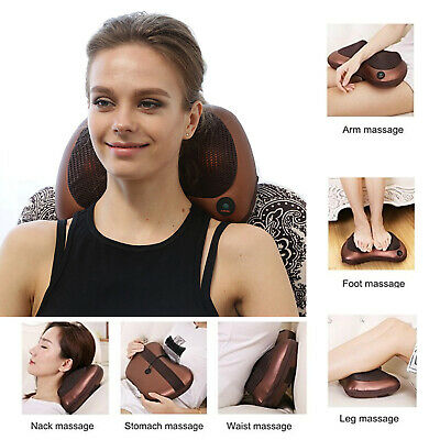 Portable Massage Pillow Kneading Massage Cushion with 4Heated Roller Car Charger