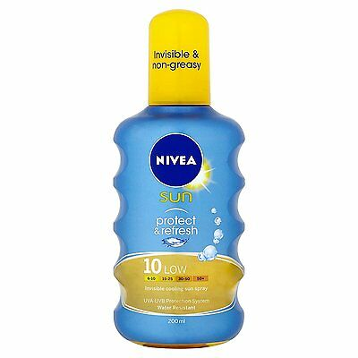 Nivea Sun Protect and Refresh Invisible Cooling 10 Low Sun Spray, 200 ml