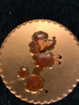 Vintage POODLE DOG Kitsch Retro Small Round Golden Poodle Brooch Pin.