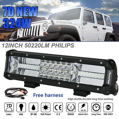 12Inch 324W Philips Led Light Bar Spot Flood Offroad Work Driving Lamp Truck 4WD