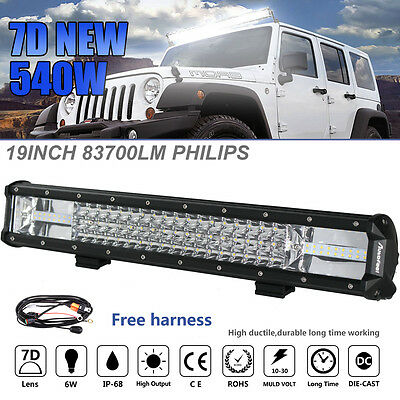 19Inch 540W Philips Led Light Bar Spot Flood Offroad Work Driving Lamp Truck 4WD