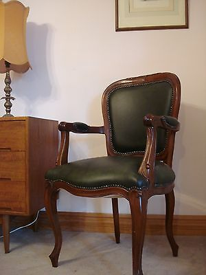 Antique Style Office Chair, Leather Armchair, Dining/ Bedroom Chair